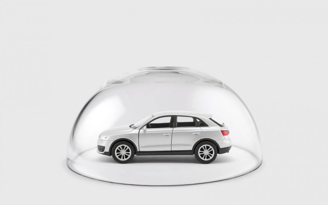 Grey Suv in a glass serving bubble